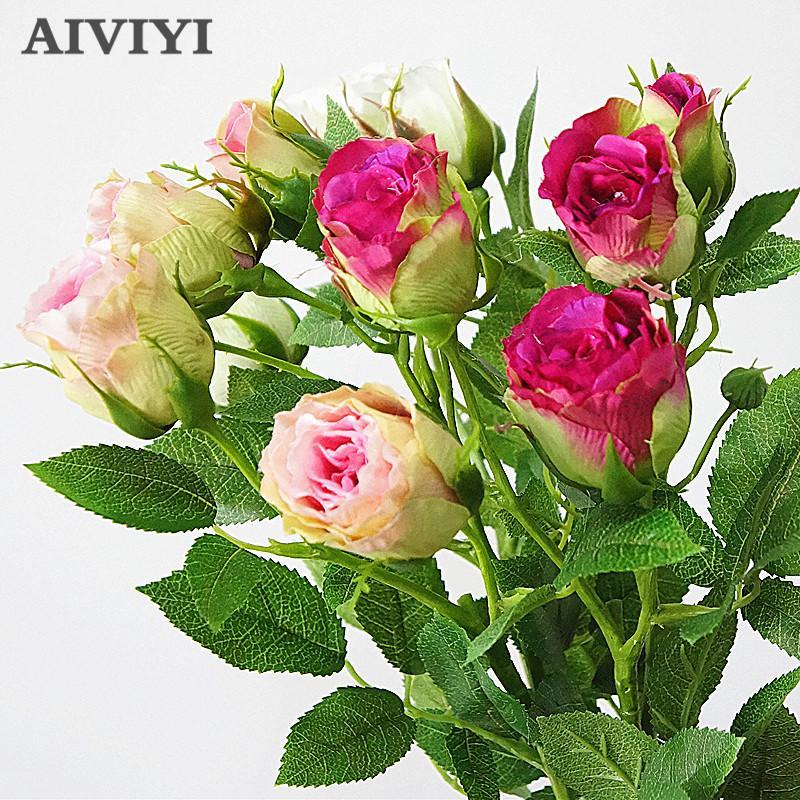 4 Têtes soie artificielle Rose Fleurs longue tige de mariage Décoration Faux Fleurs Branches en plastique avec des feuilles Accueil Hôtel Décor