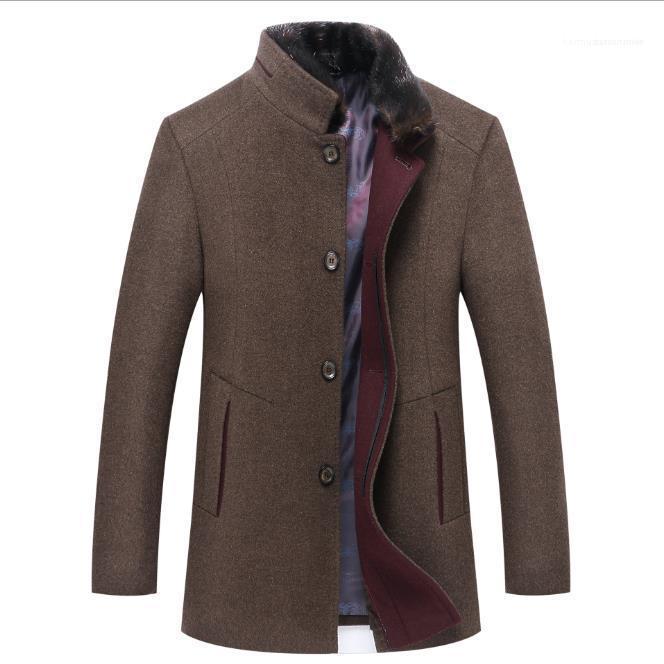 Abrigo de lana para hombre Ropa Hombre diseñador ocasional de la chaqueta del otoño del invierno del collar de pie más el tamaño de color sólido