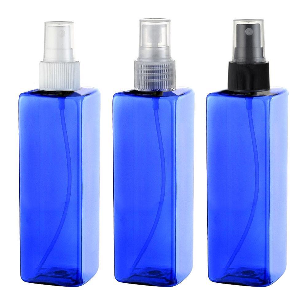 30pcs 250ml azul quadrado PET esvaziar contentores de plástico garrafas de pulverização, recipiente garrafa azul pulverização de cosméticos