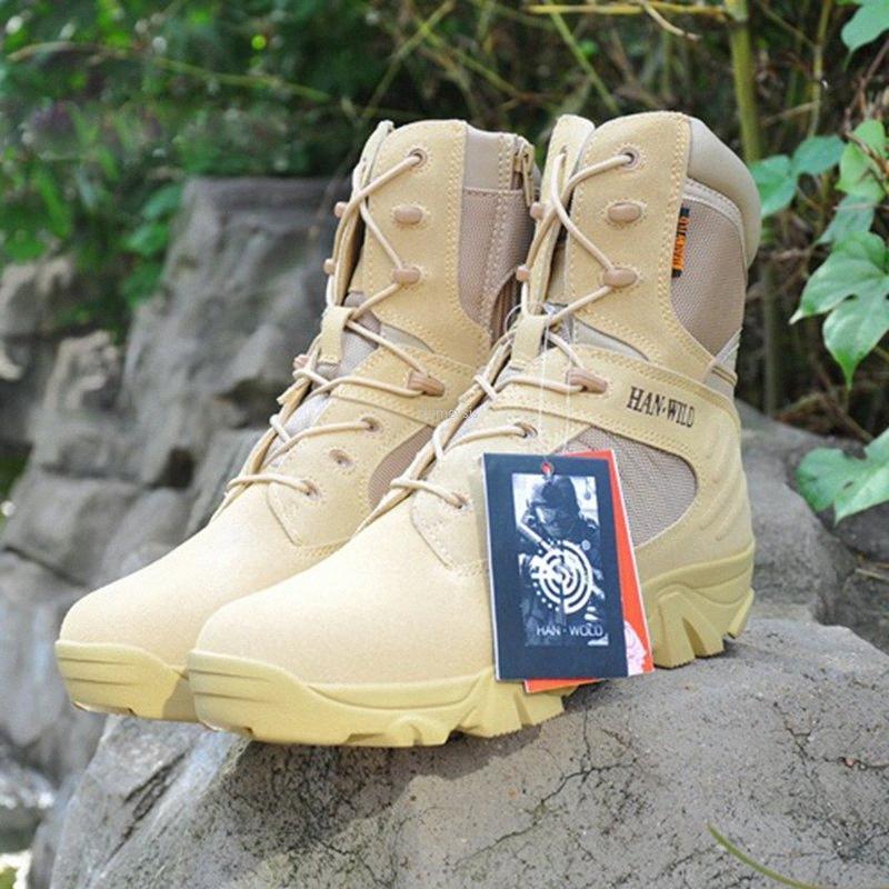 Botas de combate del Ejército tácticos de los hombres Durable Escalada Senderismo caza al aire libre del cuero de zapatos de Paintball Sports Botas EVxs #