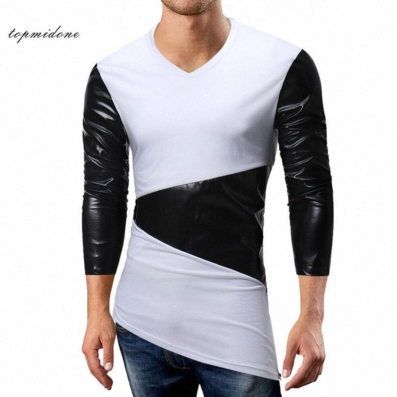 2018 Homens Patchwork Irregular Tees Men manga comprida slim V Neck Elastic T Shirt Man Leather T Shirt Hit Casual Cor Hip Hop Tops UJsw #
