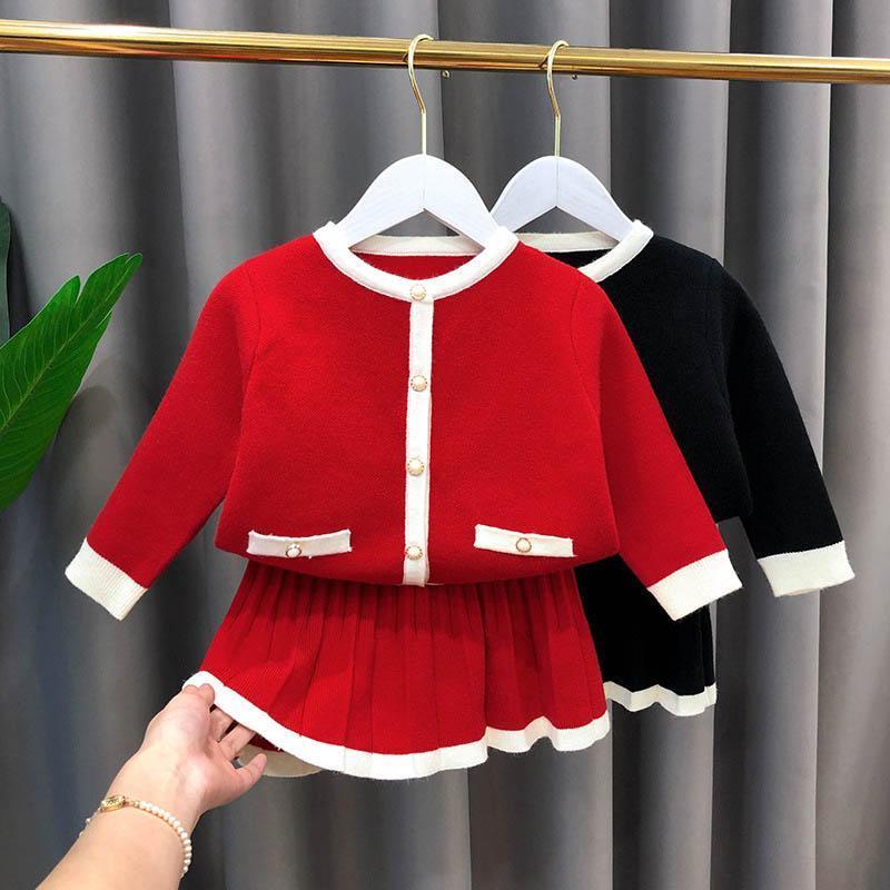 Fashion Boutique ragazze Outfits autunno inverno delle ragazze dei vestiti del cardigan manica lunga + gonne 2pcs / set Maglione i vestiti dei capretti vendita al dettaglio