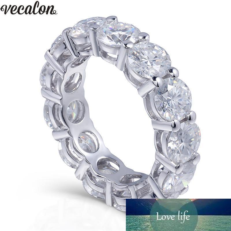 Vecalon argento 925 Eternity anello di 6 millimetri di nozze 5A zircone Sona Cz fidanzamento anelli a fascia per le donne nuziale D18111405 Finger Jewelry