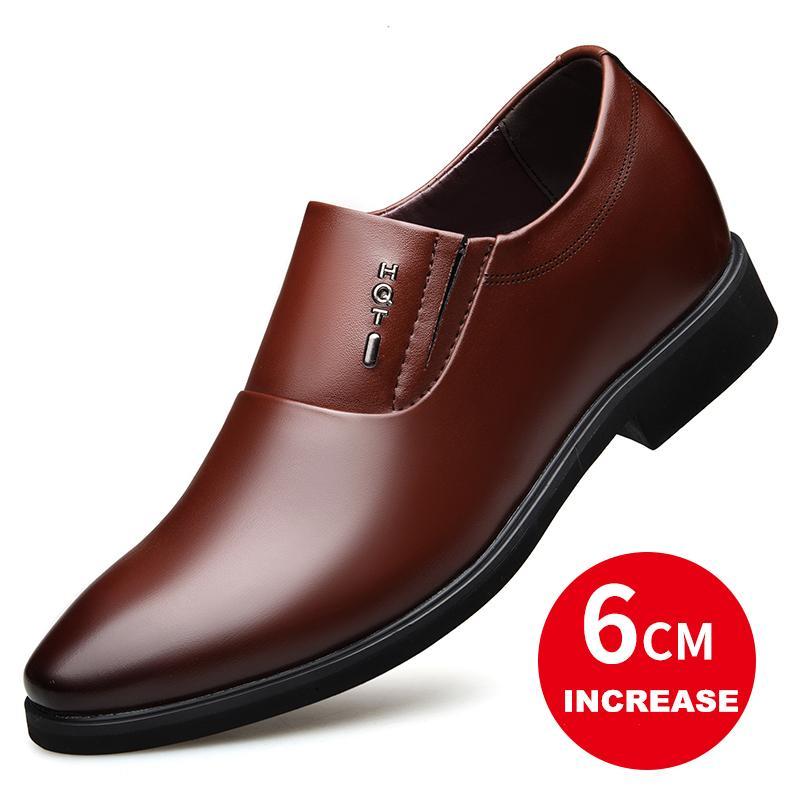 YOUQIJIA Altura casamento Aumentar 6CM Shoes Men formais sapatos masculinos de couro Mens vestido marrom preto Elevador Oxfords
