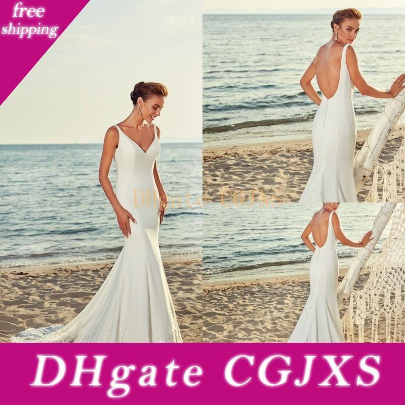 Eddy K 2019 de boda nupcial de los vestidos de boda de la sirena V Playa de cuello blanco satinado vestidos de Vestidos de novia de encaje apliques vestido de novia sin espalda Plus