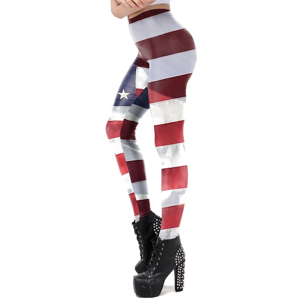 hcLFM Spring and Summer new all-match leggings American national flag striped printed tight pants Flag tight pants sports casual elastic tig