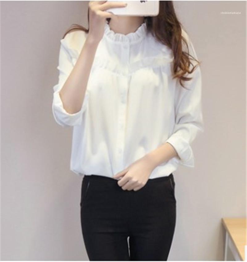 Топы женской Pure Color Одежда Весна женщины Конструктор рубашка с длинным рукавом Ruffled воротника рубашка Формальные панелями