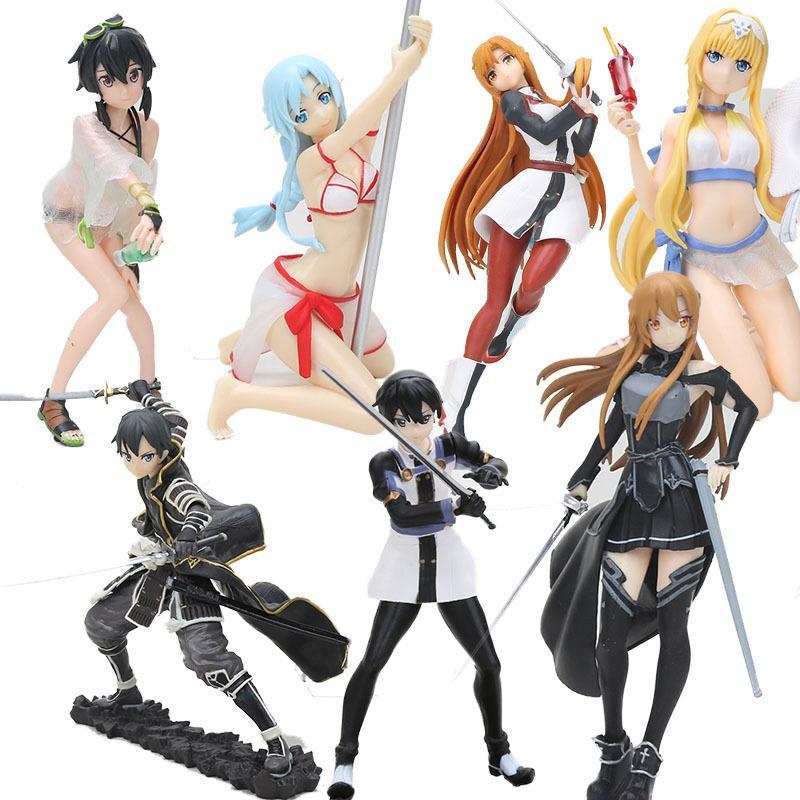 EXQ Figure Anime Sword Art Online Yuuki Asuna Kirigaya Kazuto SAO Kirito Swimsuit Ver. hot Girl PVC Action Figure toy T200824