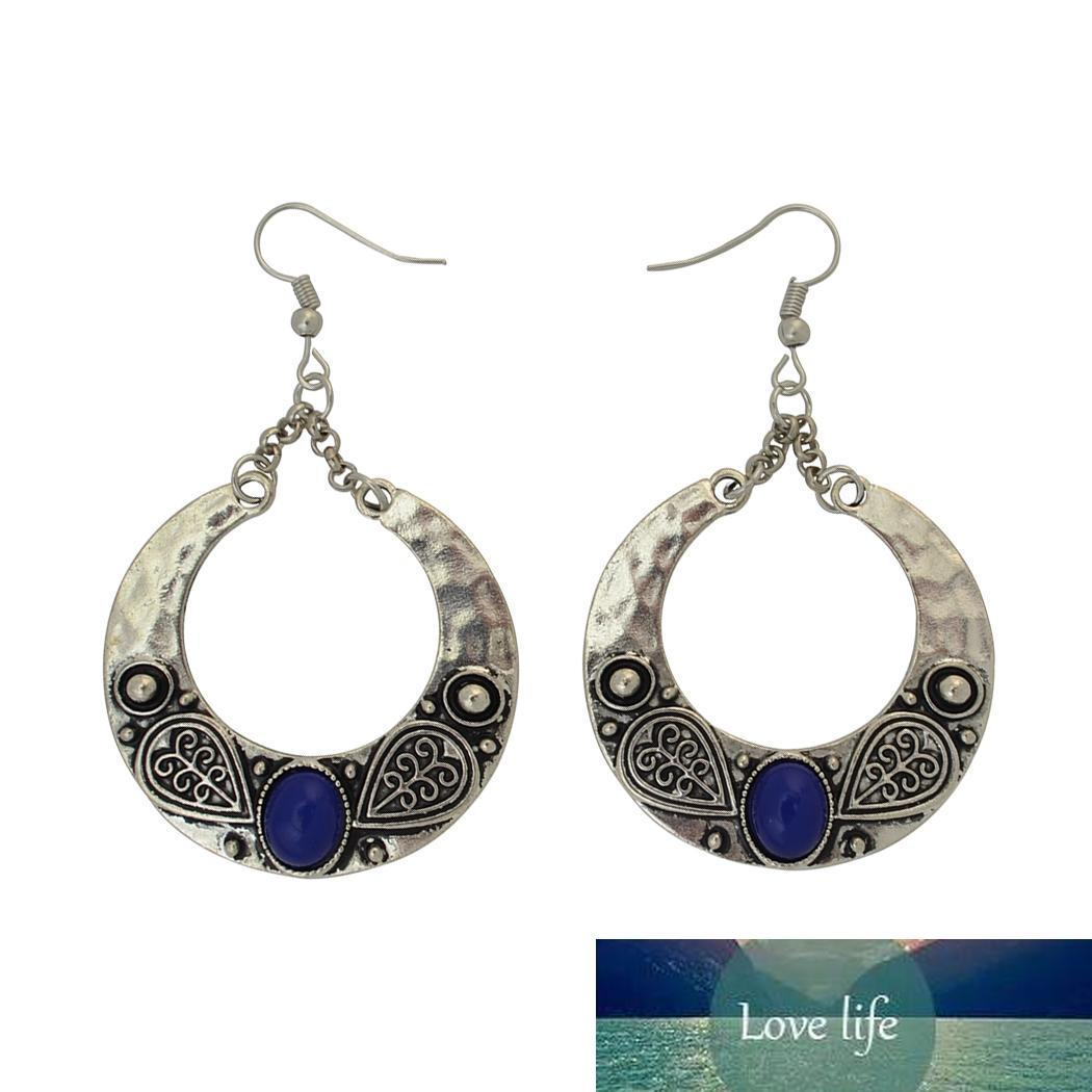 4 Color Antique Silver Plated Big Circle Round Gemstones Dangle Fish Hook Earrings