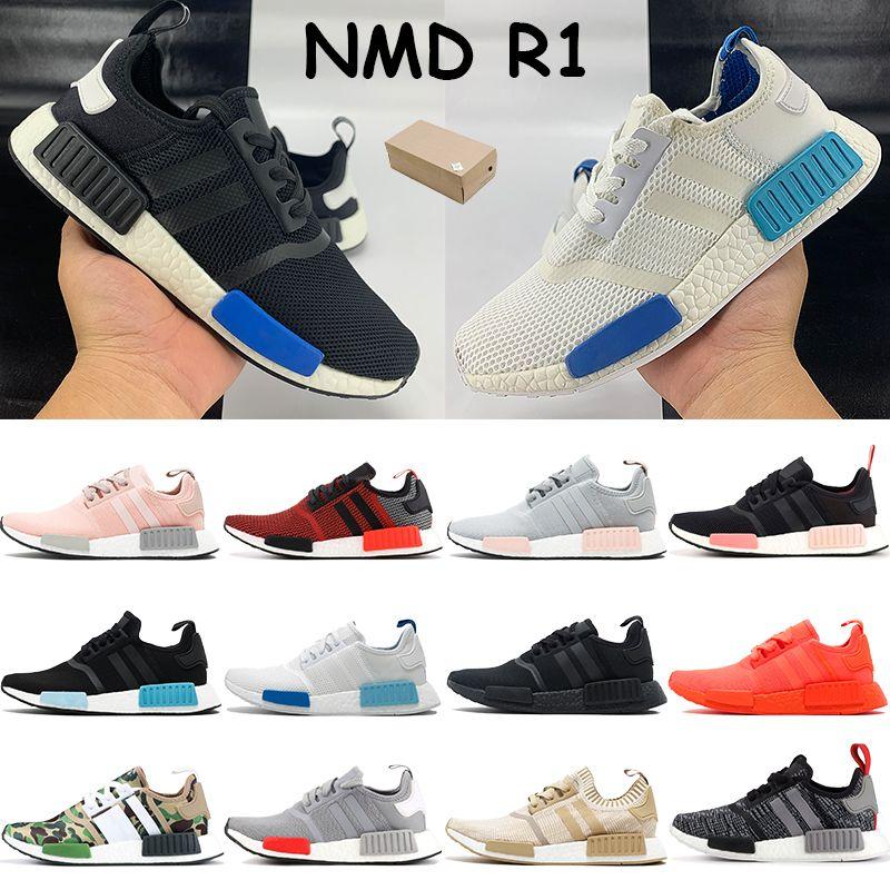 NMD R1 الرجال عداء المرأة الاحذية بلانش الأزرق الوهج الوردي الخام الثلاثي أبيض أسود أوروبا الخصبة الحصري أحمر الرجال رخيصة أحذية رياضية