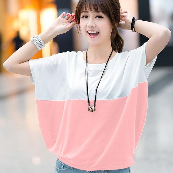 RCGZP 2020 топа корейского стиль большого размера женщины свободная похудение летучей мышь с короткими рукавами футболка для жира мм лето с короткими рукавами футболки для женщин