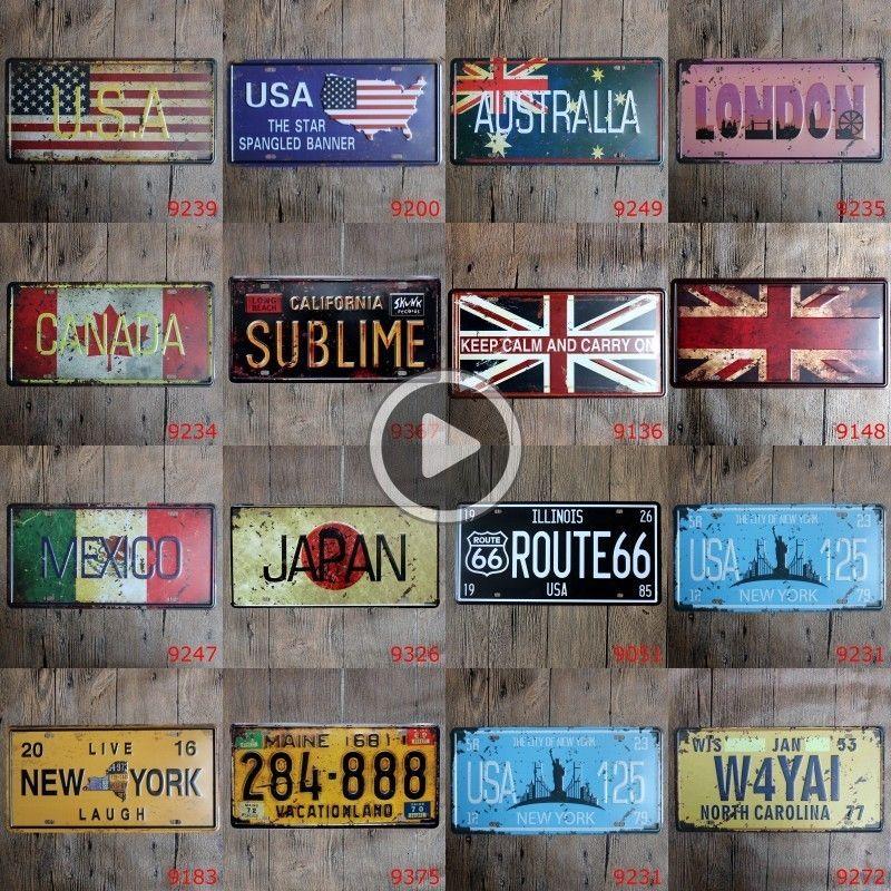 معدن القصدير لوحة USA UK كندا البلد المدينة Linse لوحة زيتية خمر ريترو جدار الفن المعادن الرسم ع بو لى بعد ديكور جون