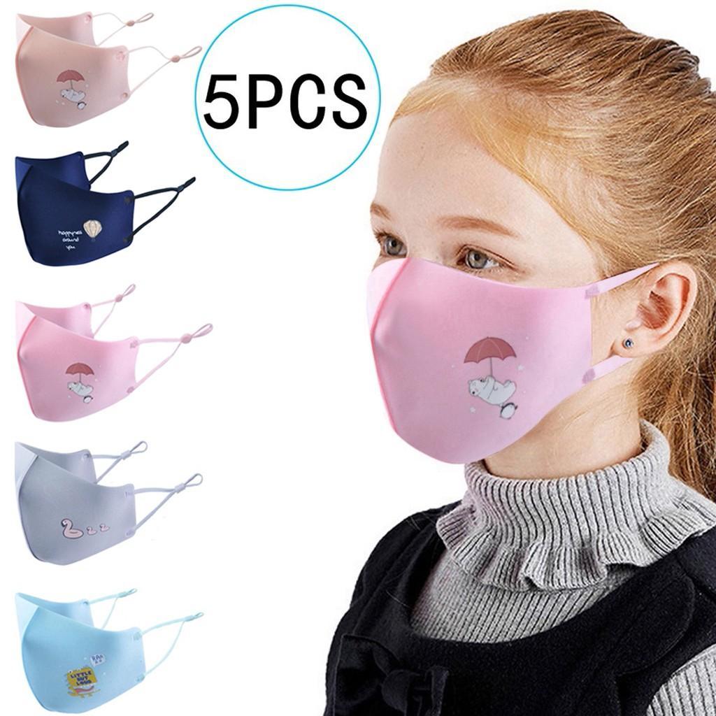 Máscara 5PC animal de la historieta de la cara de los niños del algodón de seda del hielo Máscaras Diseñador niños reutilizable lavable cara Revestimientos mascarillas