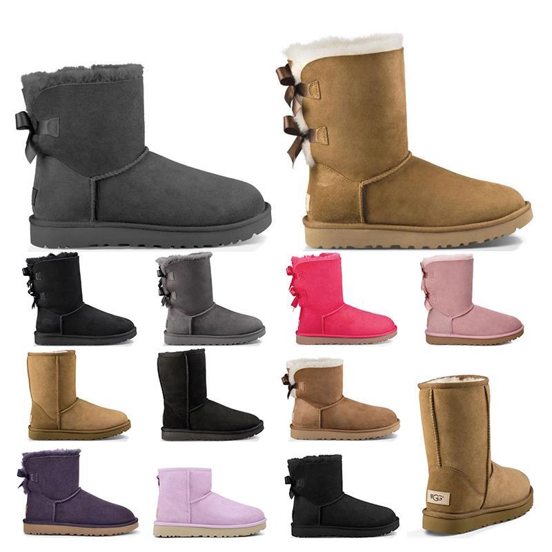 2021 New mulheres botas de inverno clássico botas de neve Botim pele de arco curto de castanha de inverno das mulheres calçam o tamanho 36-41 moda ao ar livre
