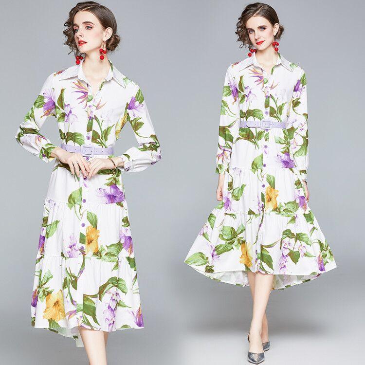 Отпечатано Женщины платье с длинным рукавом высокого класса 2020 осень платье рубашка Мода Elegant Lady Midi платье Темперамент оборками платья