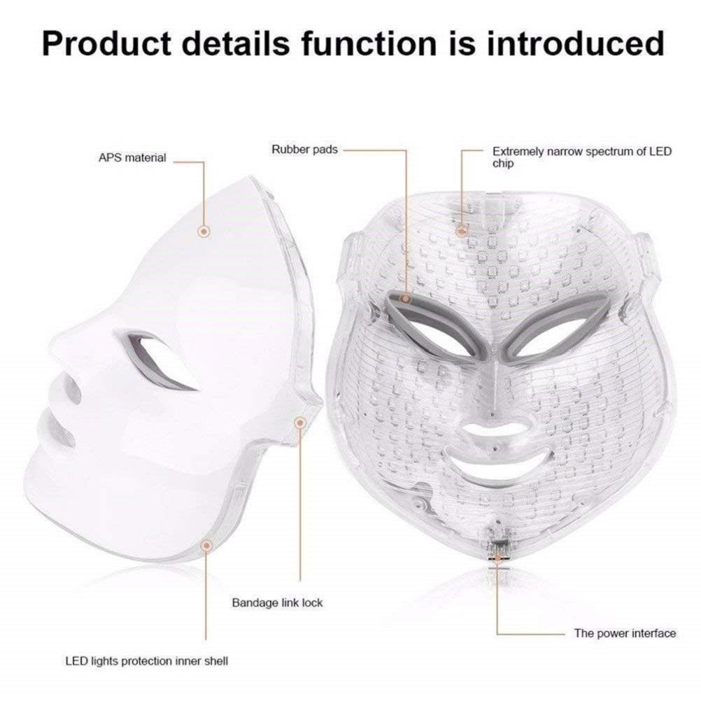 Novo Listagem 7 Cores Photon PDT LED Cuidados com Pele Facial Mask Therapy Therapy Aparelhos de Beleza Rosto Neck Máscara Anti-Envelhecimento