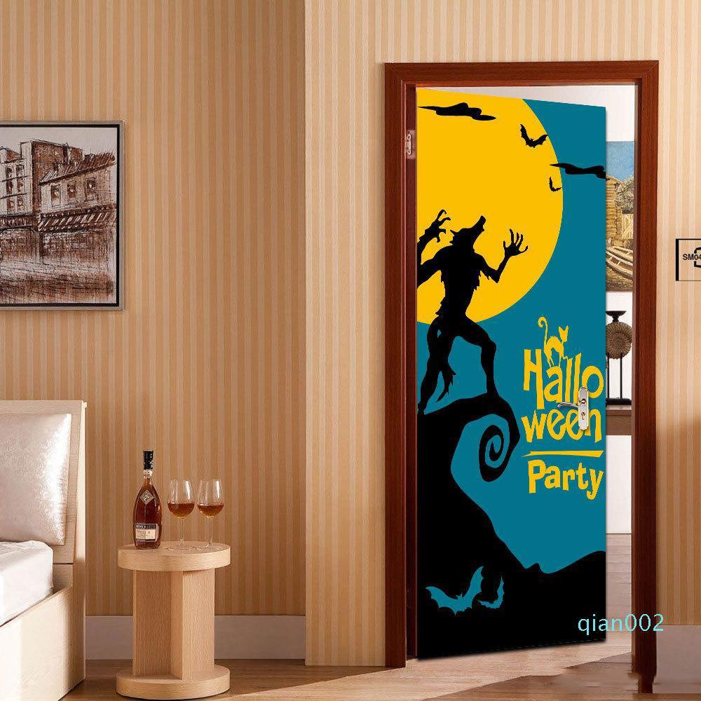 2PCS / 설정 최신 해피 할로윈 무서운 공포 늑대 포스터 문 스티커 회화 벽지 벽 스티커 파티 침실 홈 장식 선물