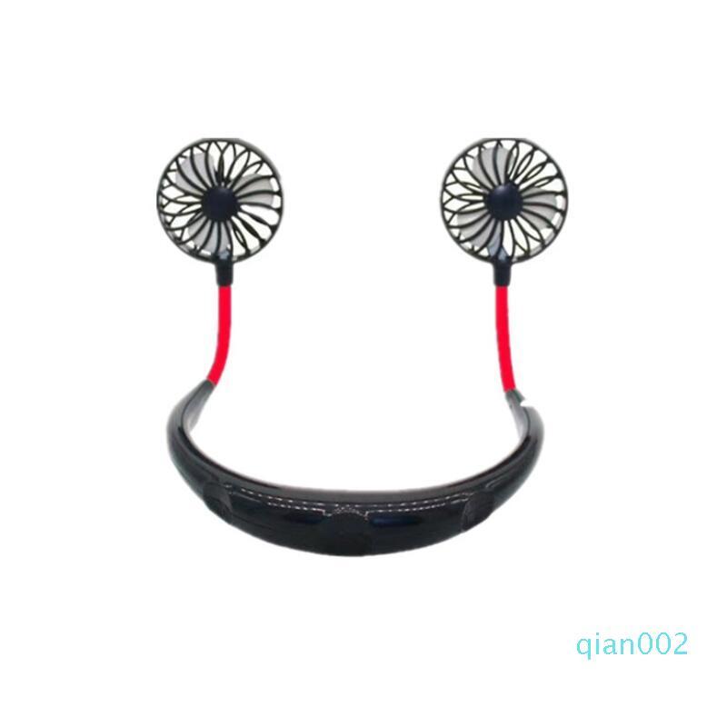 Free Hand Fan Sport Portable USB ricaricabile doppio Mini Air Cooler estate del collo Hanging Fan di favore di partito il trasporto marittimo LX2409