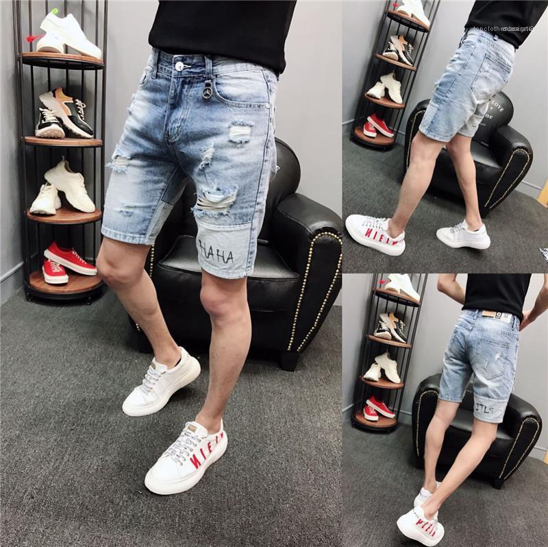 Streetwear Lettera Blu Strappato Mens Jeans Hole allentato Medio Vita di lunghezza del ginocchio Estate Shorts Mens Designer Lavato High Street Fashion