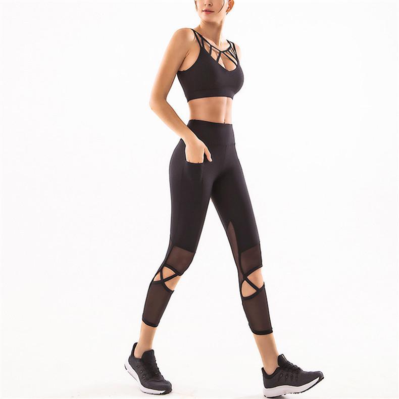 Yoga Set Suit Sport Mulheres Workout Set Mulheres 2 Piece roupas esportivas para Gym roupa da aptidão Leggings desgaste ativo