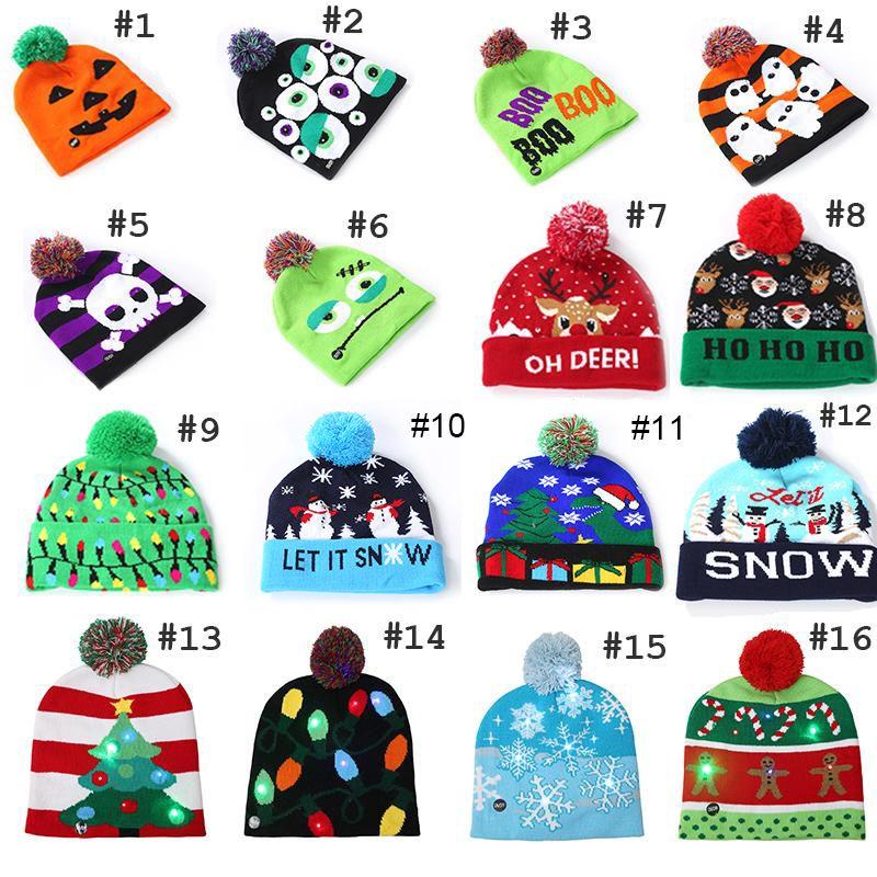 16styles بقيادة عيد الميلاد هالوين محبوك القبعات الاطفال الرضع الأمهات شتاء دافئ بيني الكروشيه قبعات القرع الثلج مهرجان الديكور حزب C5215