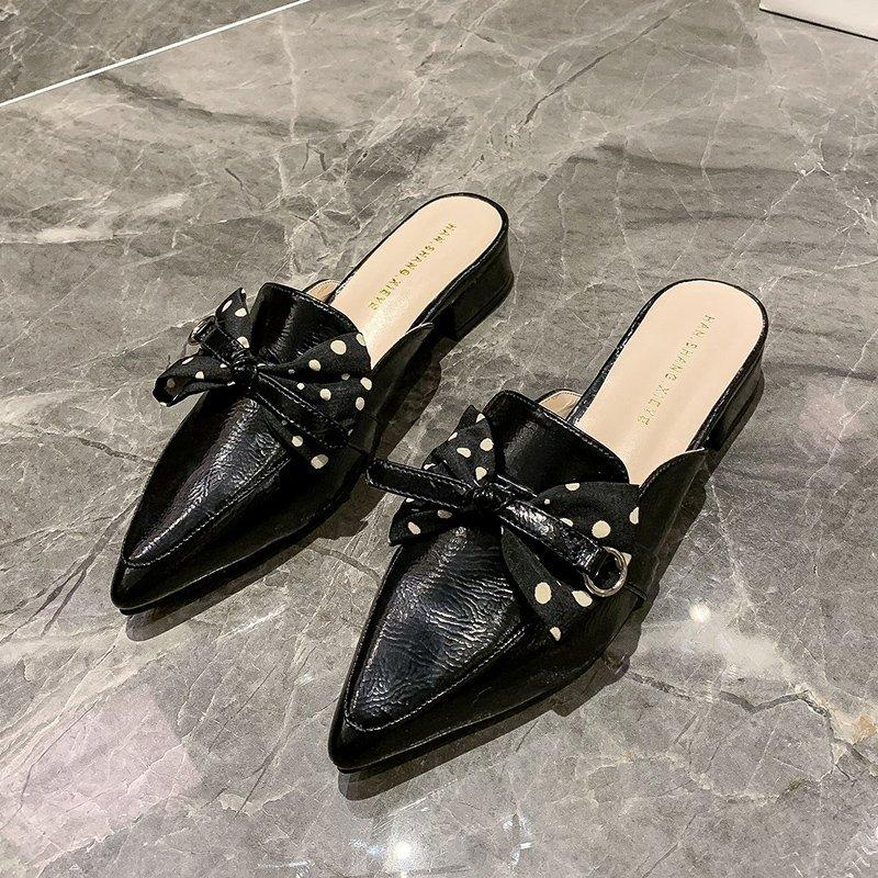 Femmes Chaussons épais talons fermé orteils Demi Chaussons Femme 2020 Nouvelle Automne Bow Noeud à pois Muller Chaussures Sandales de vêtements d'extérieur