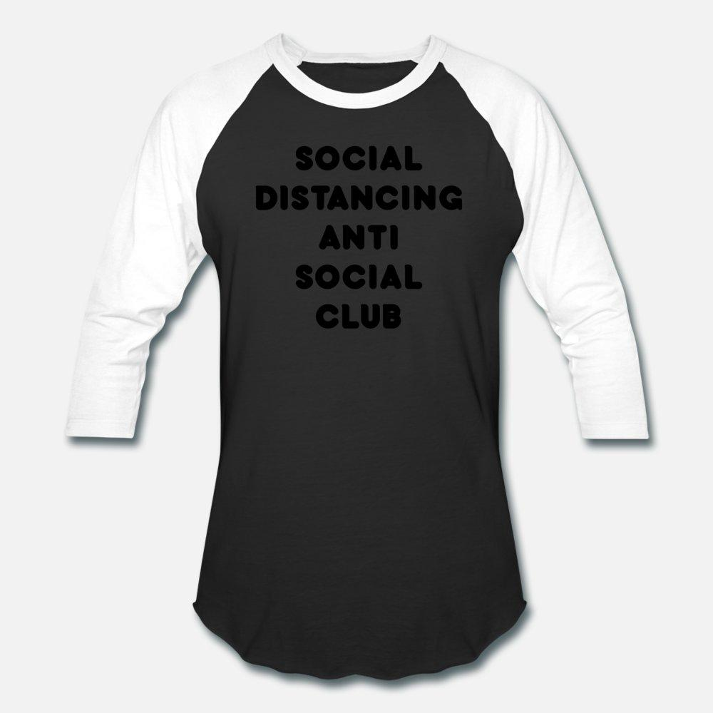 Social Distanciamento Anti Social Club preto camiseta Homens Interessante Cotton em torno do pescoço Pattern 100% Interessante Moda Primavera Tendência