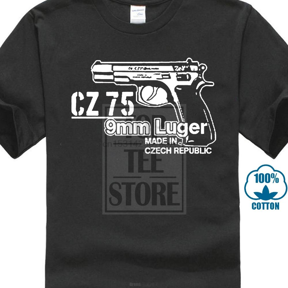 2020 Hot Vente Mode Cz 75 9 mm Luger Arme Sniper tchèque Pistolet automatique Gun militaire T-shirt T-shirt noir