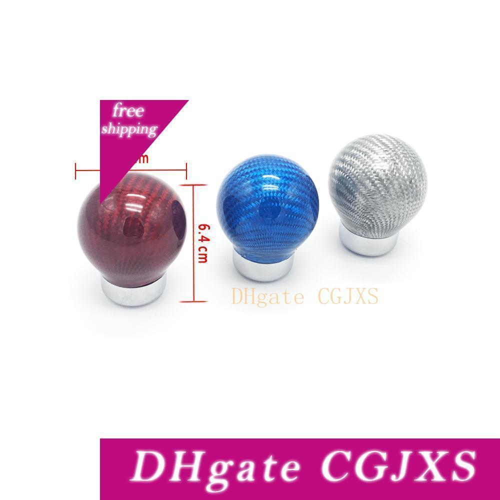 Forma palanca de cambios de la palanca de cambio de la bola redonda del coche universal de fibra de carbono Globo Ruchka Kpp