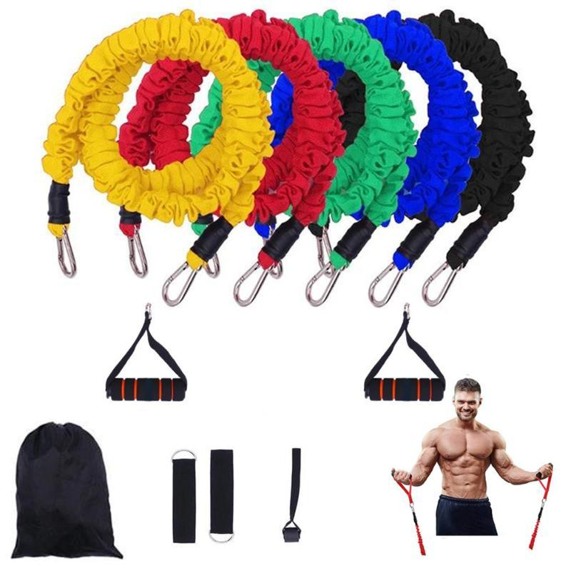 TPE 11 Piece Set Fitness Rally Pulling Rope Workout Fitness Equipment Elastic Band Elastic Band For Sports Bands