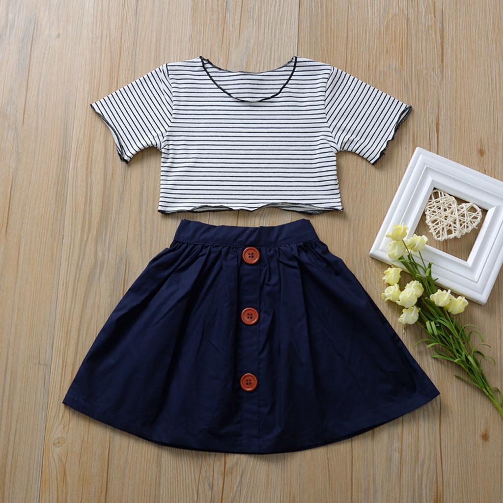 Excelent 2020 Hot Korean Kleinkind-Baby-Kleidung Sets Cute-Kurzarm gestreift Top Fester Rock Art und Weise Kinder Set 2PC