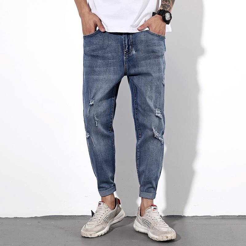 BuN4j 48-Größe zerrissen und Frühling Sommer lose Herren-ultra-große und Herrenjeans Jeans-Hosen Größe gewaschen Hose Knöchellänge