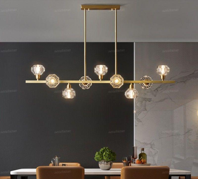 New all-copper restaurant led chandelier lighting Nordic crystal bar lamps simple modern home restaurant Nakajima chandelier
