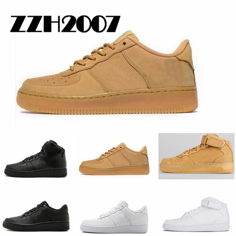 2019 Nike Air Force one 1 Af1 Classico All White nero grigio basso alto taglio uomo donna Sport sneakers Running Shoes one skate Shoes US 5.5-1