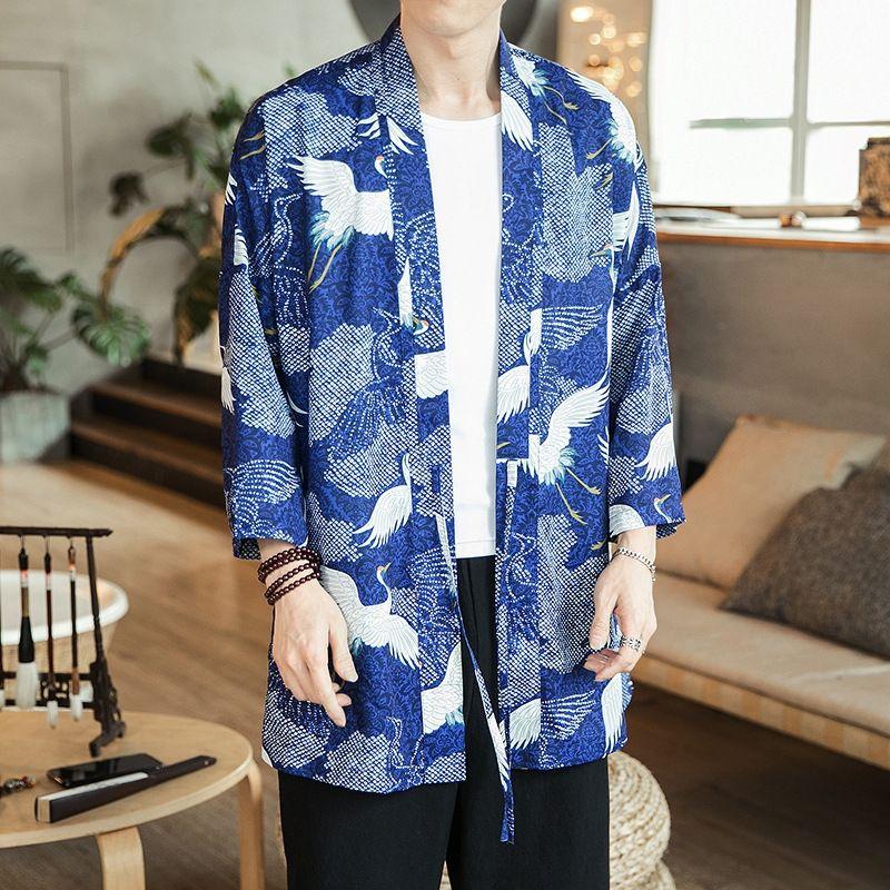 2019 novo verão manto Manto kimono Brasão kimono guindaste meados de comprimento impresso casaco cardigan dos homens de estilo chinês de Homens YzXh2 para homens