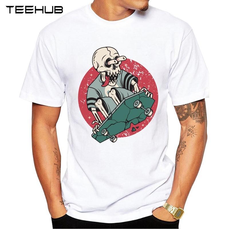 TEEHUB Männer neue Lustige Schädel boardingDesign Kurzarm T-Shirt Coole Printed Tops Hipster T Shirts