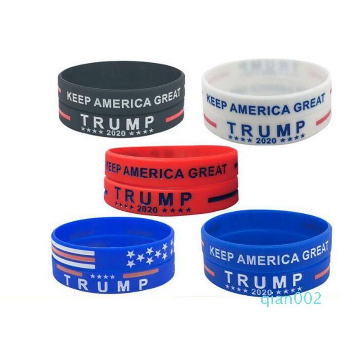 Trump silicone pulseira de borracha Suporte Pulseiras Bangles Faça América grande Donald Trump 2020 Jóias favor de partido 1500pcs LJJO8129