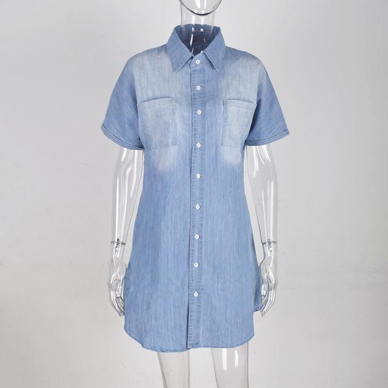 dz0D9 a3arr 2020 été manches Bouton été denim pour les femmes 2020 bouton chemise en jean courte à manches courtes chemise robe vestimentaire pour les femmes