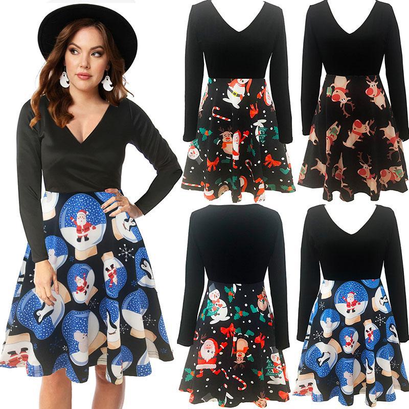여성 크리스마스 드레스 가을 겨울 긴 소매 A 라인 드레스 숙녀 축제 파티 드레스 섹시한 V 목 드레스 050829
