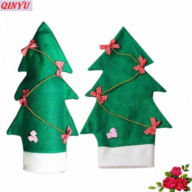 Botella de vino rojo de Navidad Establece la forma del árbol de Navidad Año Nuevo Inicio Decoración de fiesta Suministros bolso botella cubierta 5Z ILJA #