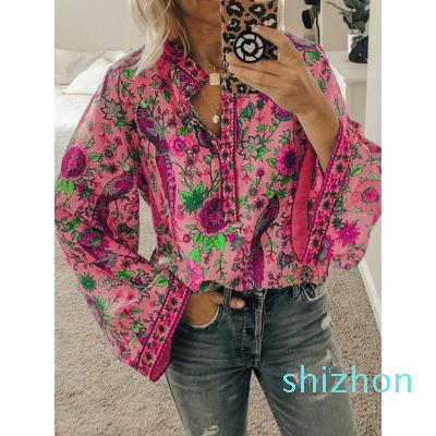 Hot Sale Elegant Women Boho Lantern Shirt Long Sleeve Loose V neck Floral Shirts Tops Ladies Hippie Tunic Blouse Shirt Autumn Casual Tops
