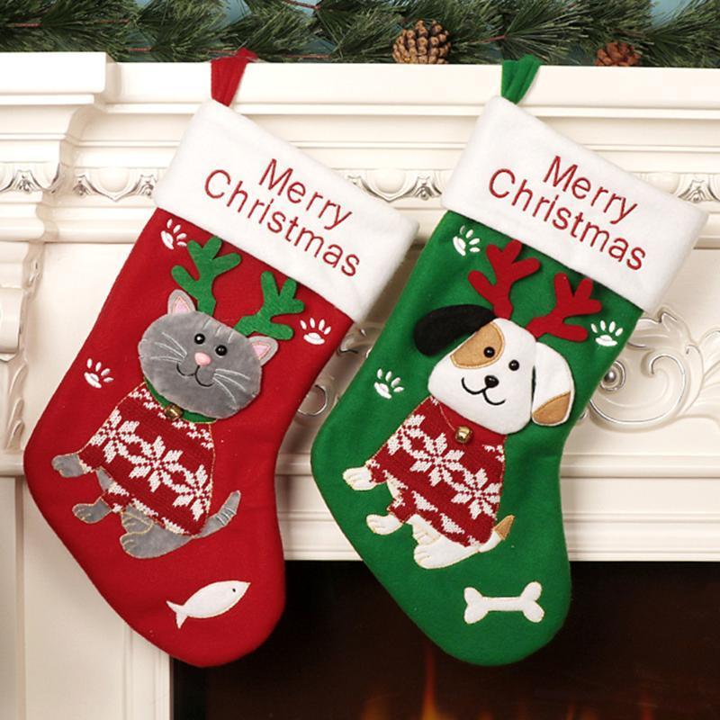 Упаковочный мешок Дерево висячего Главной украшения праздника Носок Xmas подарков мешок Рождество Классического висячие носки Дети конфета подарок Рождество
