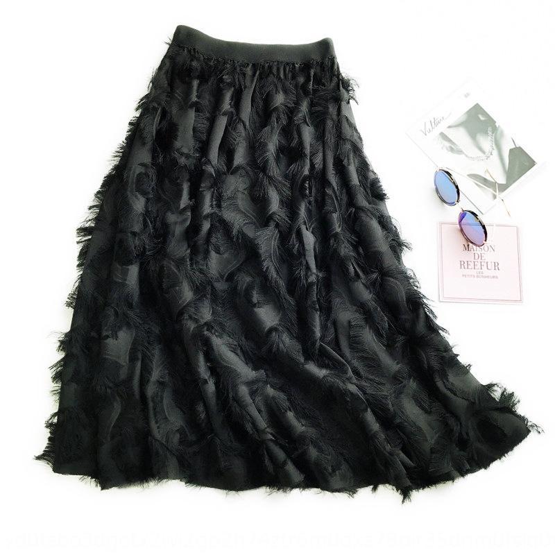 Quaste Kleid Chiffon Chiffonrock Feder schicke hohe Taille der koreanischen Art halber Länge Rock Frauen Allgleiches Kleid großen A- Linie