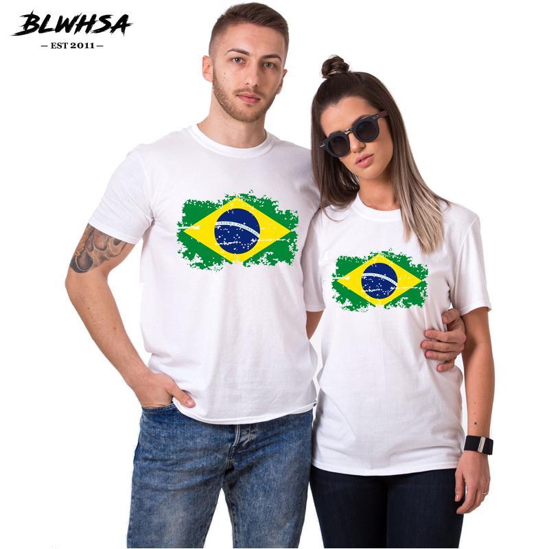 Brezilya Bayrağı Sevgililer Günü Hediye Çift T Gömlek Aşıklar Giyim Moda Kadın Erkek Short Sleeve Yaz T-shirt Tops
