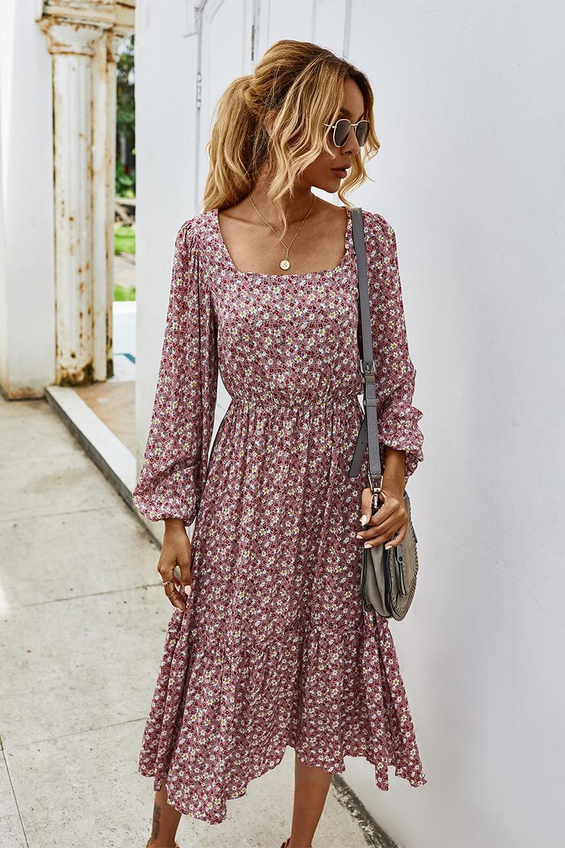 Элегантные женщины с полным рукавом платья мода осень эластичная талия о-шеи печать A-Line партии Vestidos повседневные платья для женщин 203033