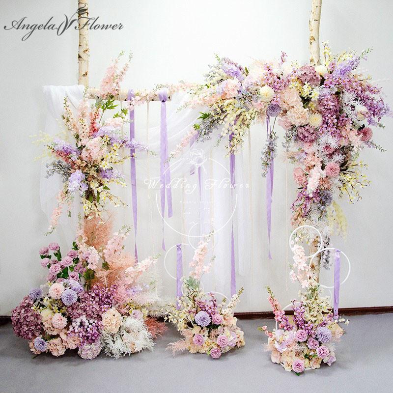 Пользовательские Baby Pink Фиолетовый Искусственный цветок Роу Свадебные арки Декор Backdrop Цветочная композиция Реквизит этап роуд Руководство Стена