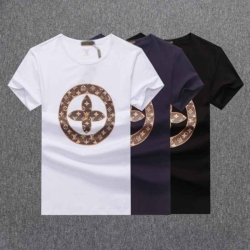 letra impresa hombres de alta calidad de la camiseta del verano de algodón de manga corta camiseta