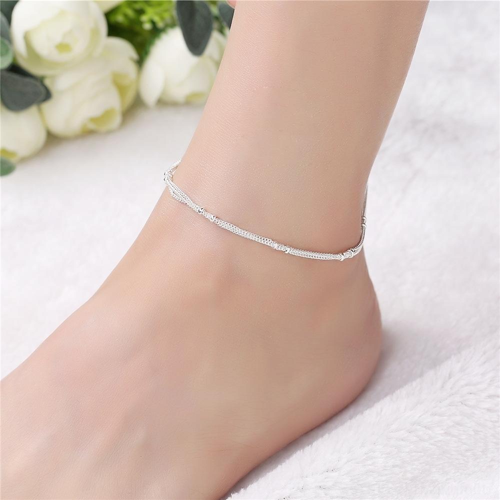 Корейский двойной слой серебра бисер японский и Летняя мода двойной ножной Многослойная Женский серебряный браслет браслет htajN