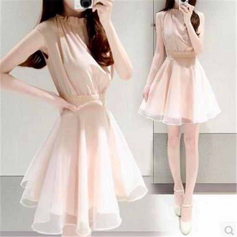 xSu5n Frauen Chiffon kurzärmeliges Kleid koreanischen Stil Persönlichkeit des öffentlichen Lebens und weise schmal geschnittene Taille geschlossenen Rock Schürze Schürze 2020 Sommer