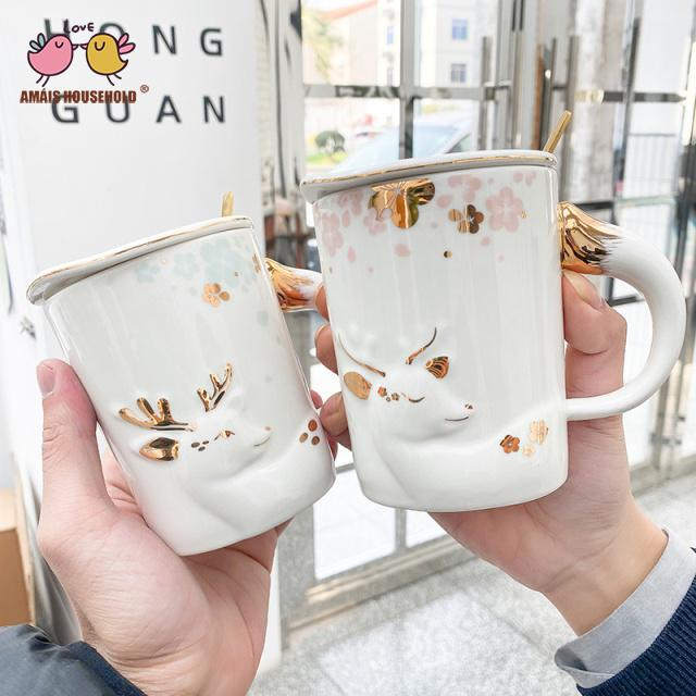 400ml Nordic Style Romantic Lucky Snow Deer Relief With Golden Edge Christmas offee Mugs For Home Office Decoration and Girlfriends Gift